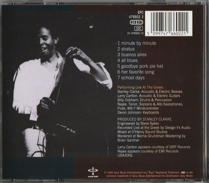 【中古】Stanley Clarke & Friends / Live At The Greek (輸入盤, 盤質良好, 1994年作品) #Larry Carlton, Billy Cobham, Deron Johnon_画像2