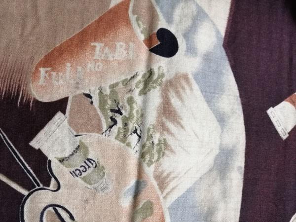 きものさらさ アンティーク 帯 半幅帯 モスリン レア! インコ 旅行 富士山 絵具 アールデコ 英文字 図変わり モダン_画像9