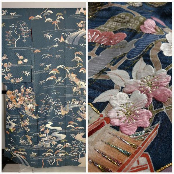 きものさらさ アンティーク着物 桜文様 訪問着 日本刺繍 古典文様 綸子 正絹 大正ロマン_画像1