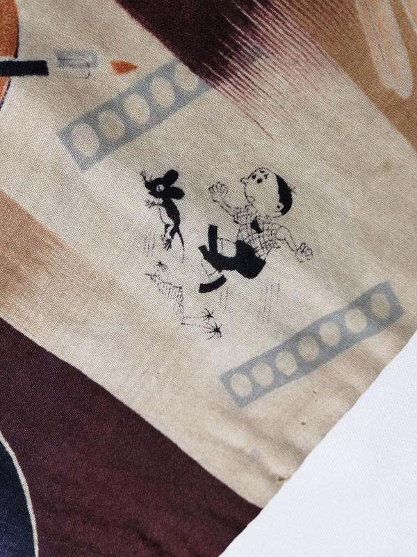 きものさらさ アンティーク 帯 半幅帯 モスリン レア! インコ 旅行 富士山 絵具 アールデコ 英文字 図変わり モダン_画像6