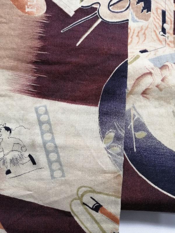きものさらさ アンティーク 帯 半幅帯 モスリン レア! インコ 旅行 富士山 絵具 アールデコ 英文字 図変わり モダン_画像4