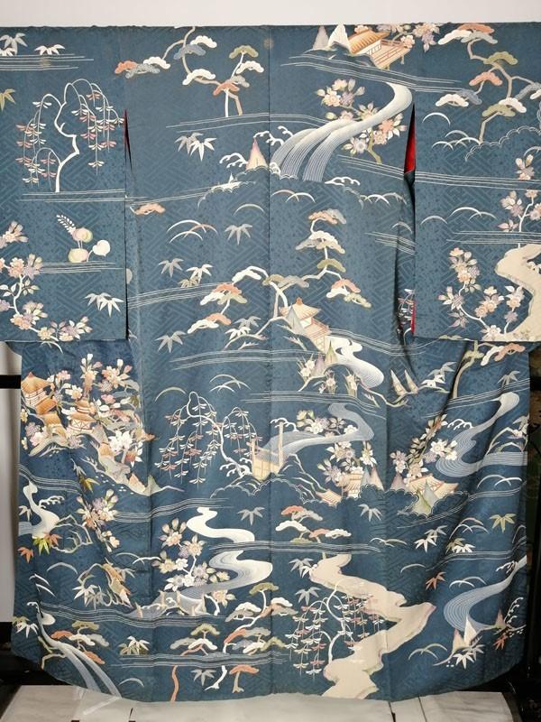 きものさらさ アンティーク着物 桜文様 訪問着 日本刺繍 古典文様 綸子 正絹 大正ロマン_画像2