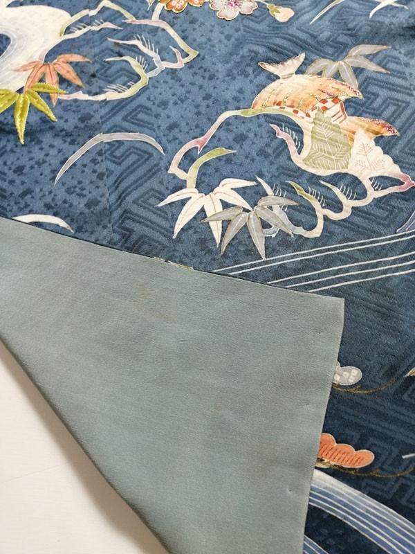 きものさらさ アンティーク着物 桜文様 訪問着 日本刺繍 古典文様 綸子 正絹 大正ロマン_画像9