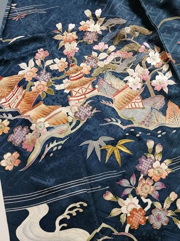 きものさらさ アンティーク着物 桜文様 訪問着 日本刺繍 古典文様 綸子 正絹 大正ロマン_画像5