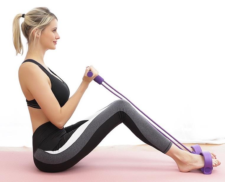 トレーニングチューブ(水色) 腹筋エクササイズ ボード漕ぎ運動 ヨガ リハビリ