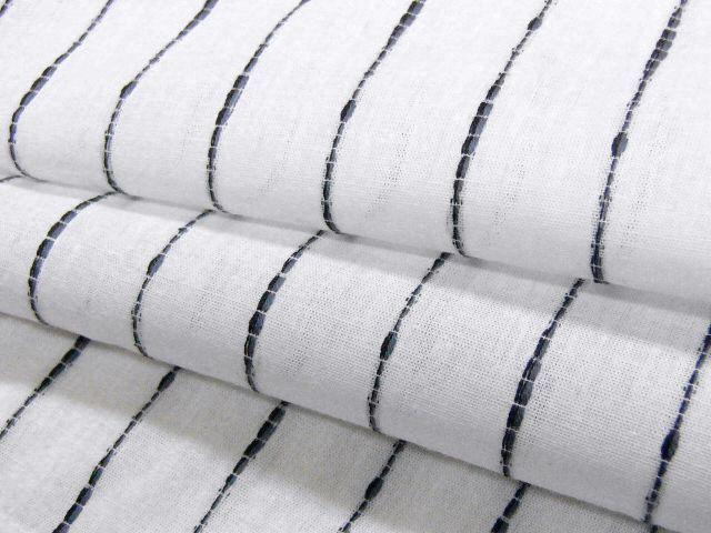 少し透ける 綿・麻 変り織生地 織の男ゆかた Lサイズ 白・太縞 新品_画像5