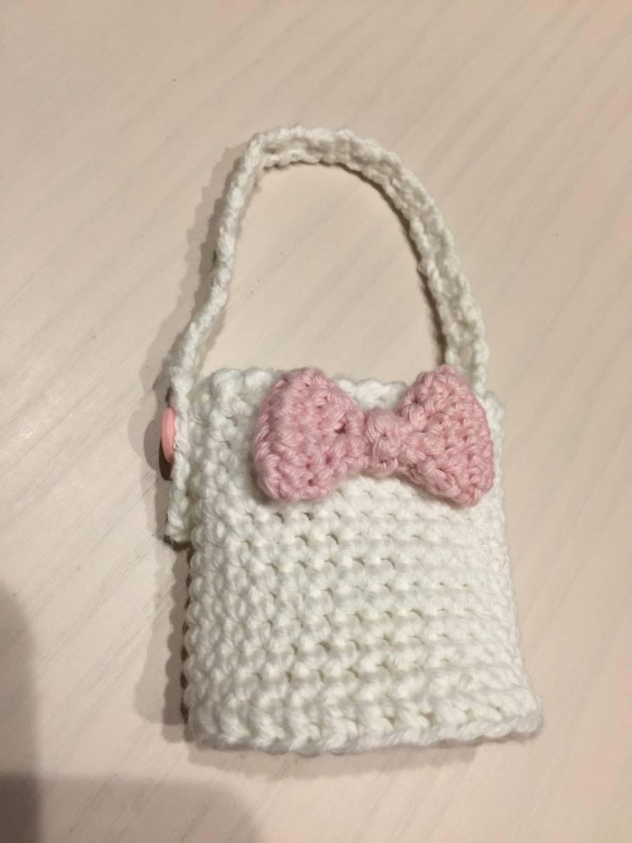 ハンドメイド☆手ピカジェル・携帯ボトル専用カバー☆バッグに吊るして☆手編みカバーのみ☆リボン_画像3