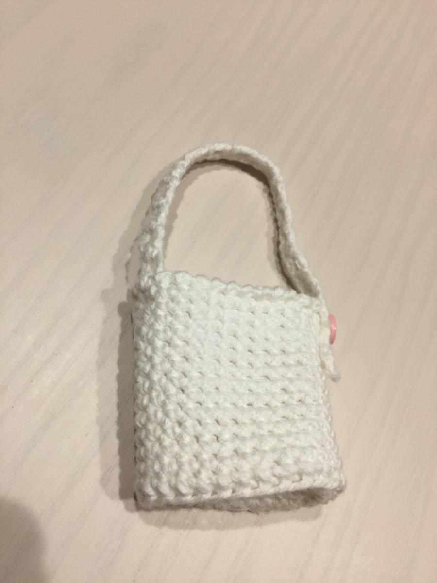 ハンドメイド☆手ピカジェル・携帯ボトル専用カバー☆バッグに吊るして☆手編みカバーのみ☆リボン_画像6