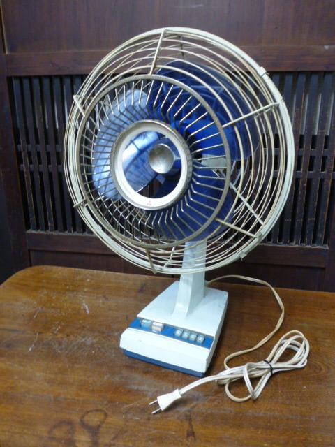 昭和レトロ 三菱 扇風機 D25-E型 青 ブルー 古道具 アンティーク レトロ家電 ディスプレイ 什器_画像1