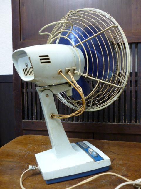 昭和レトロ 三菱 扇風機 D25-E型 青 ブルー 古道具 アンティーク レトロ家電 ディスプレイ 什器_画像3