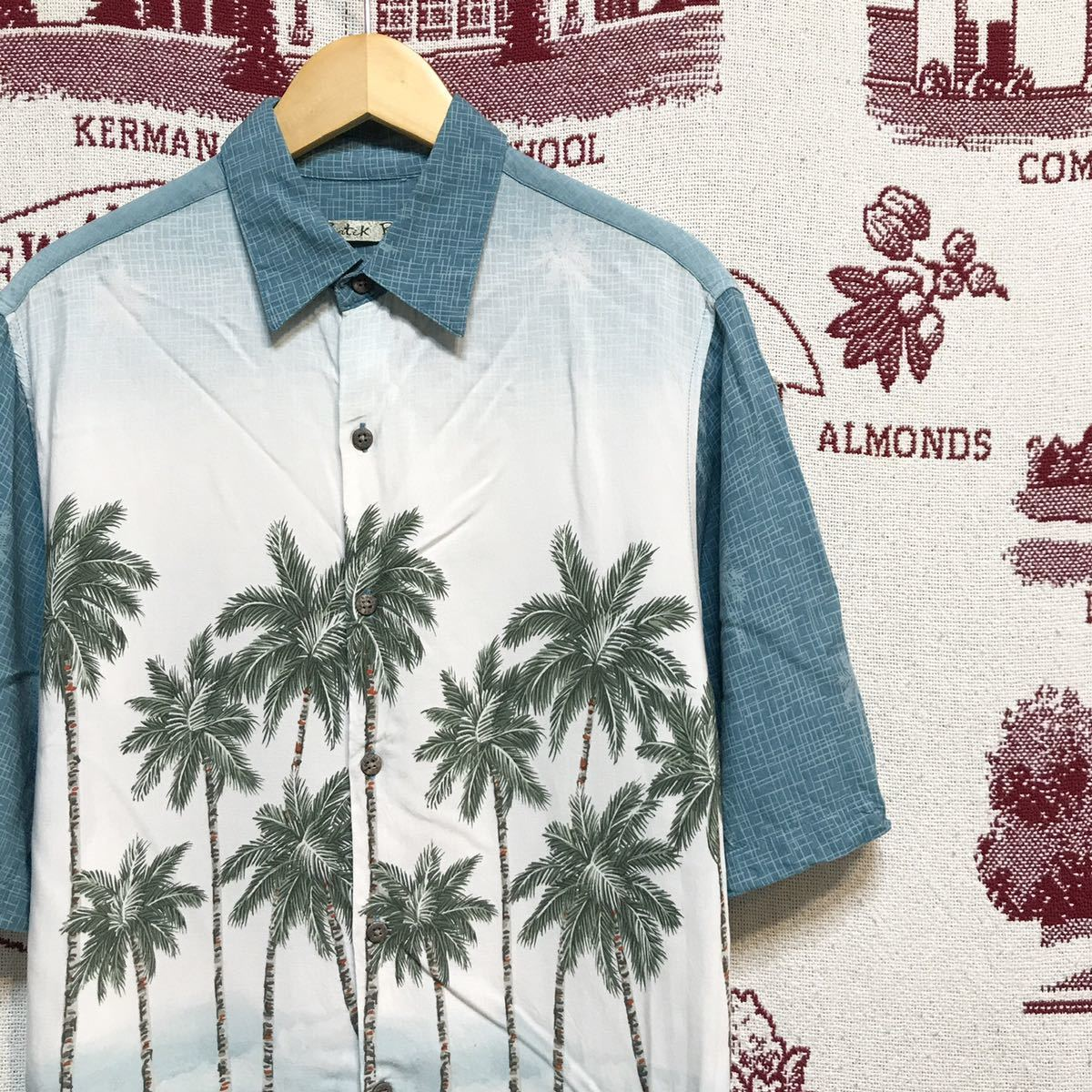 アメリカ古着 アロハシャツ ハワイアンシャツ グラデーション ヤシの木 奇抜
