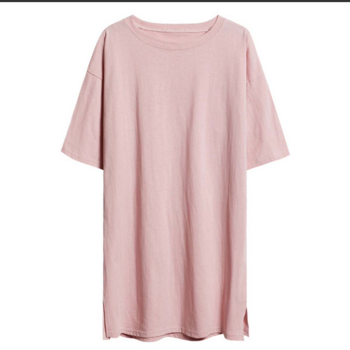 オーバーサイズロング丈半袖カットソー Tシャツ 【Lサイズ】