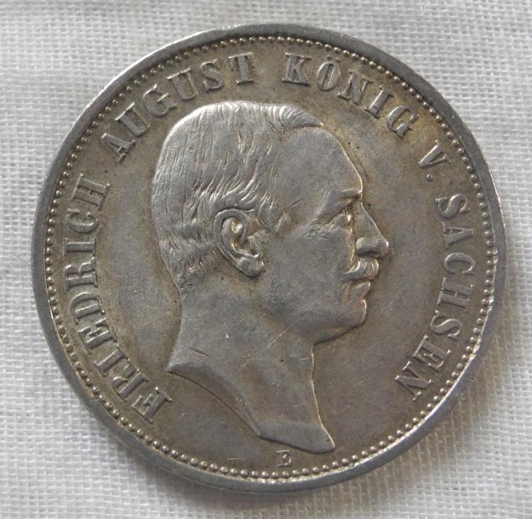 ドイツ ザクセン 3マルク銀貨 1911年 E フリードリヒ5世 美品! アンティーク 古銭 銀
