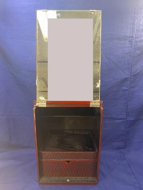 ♪♪E【即決SALE】木製 鎌倉彫 折り畳み式鏡台 引き出し・棚付き  ドレッサー 化粧台 昭和レトロ 伝統工芸品 現状品♪♪_画像1