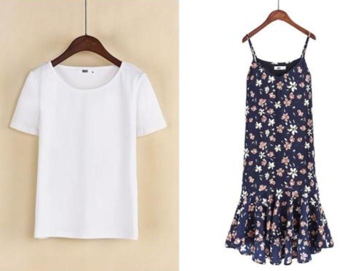 レディースキャミワンピース/花柄/白Tシャツセット/キャミソール/ワンピース