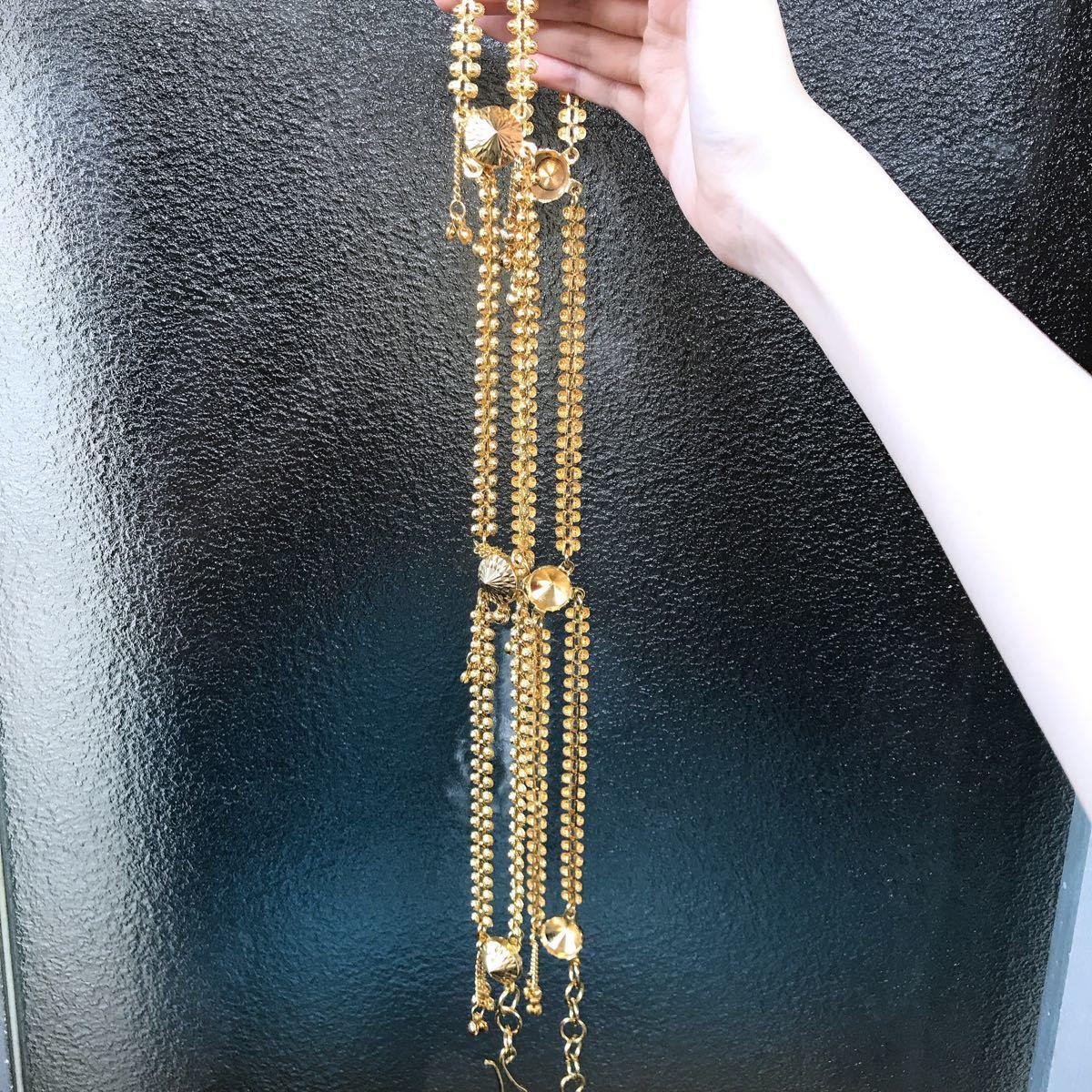 新品未使用ゴールドカラー2連フック式チェーンベルト