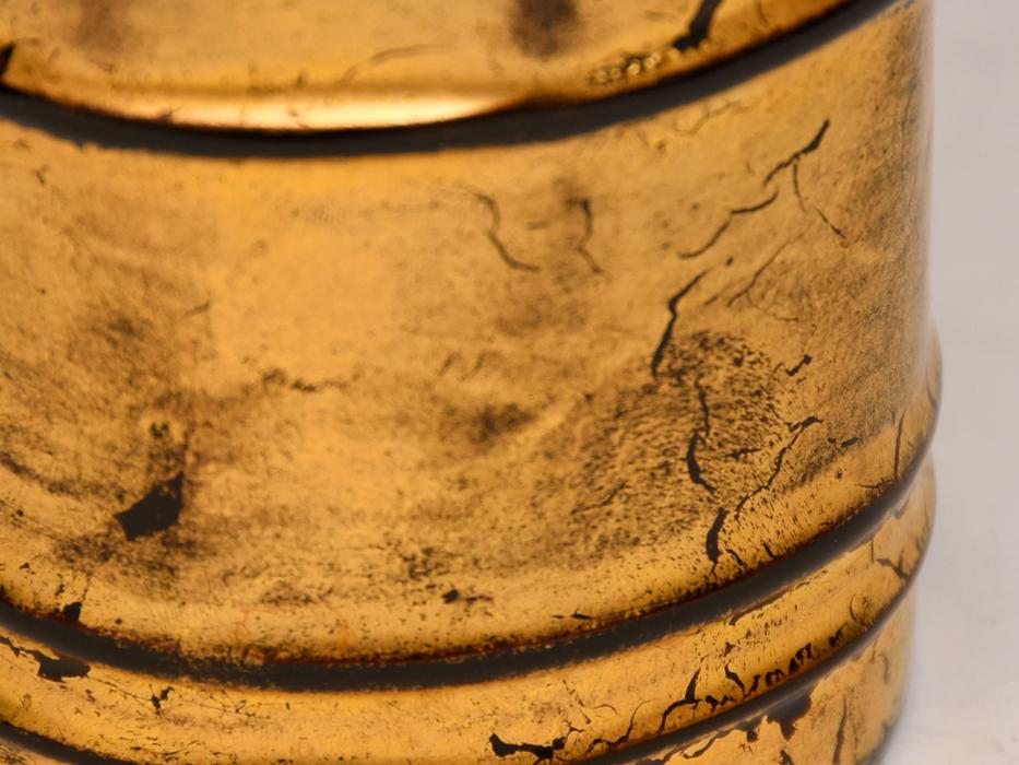 哲山(造)金彩本漆巾筒 漆桶形 共箱 天然木 木工芸 漆工芸 漆芸 漆器 茶道具 煎茶道具 現代工芸 美品 b8339e_画像6
