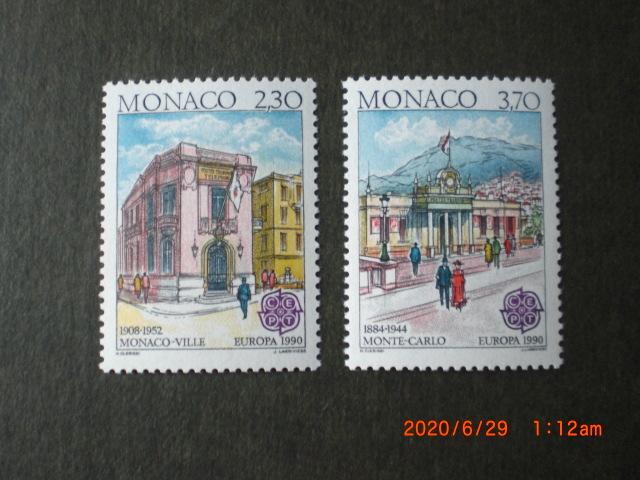 20世紀初頭のモナコ館ほか 2種完 1990年 未使用 モナコ公国 VF/NH ヨーロッパ切手・歴史建物_画像1