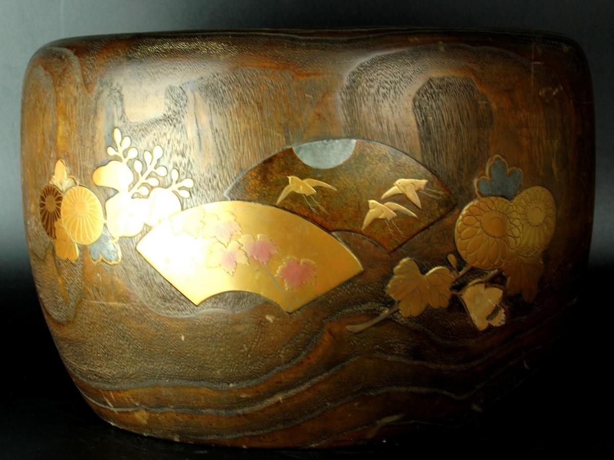 古美術品 扇面鳥草花図蒔絵火鉢 32cm 螺鈿細工 時代古玩 (716) 6JS35