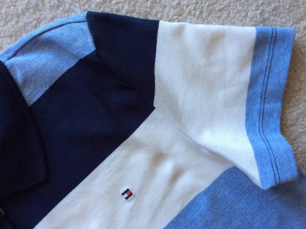 Tommy Hilfiger新品XL♪青紺白ボーダー鹿の子織りポロシャツ_袖口もしっかり!