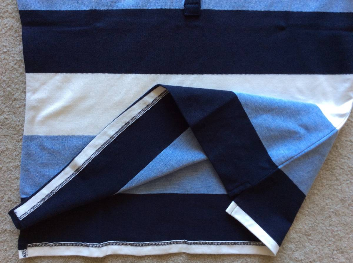 Tommy Hilfiger新品XL♪青紺白ボーダー鹿の子織りポロシャツ_サイドスリット入り