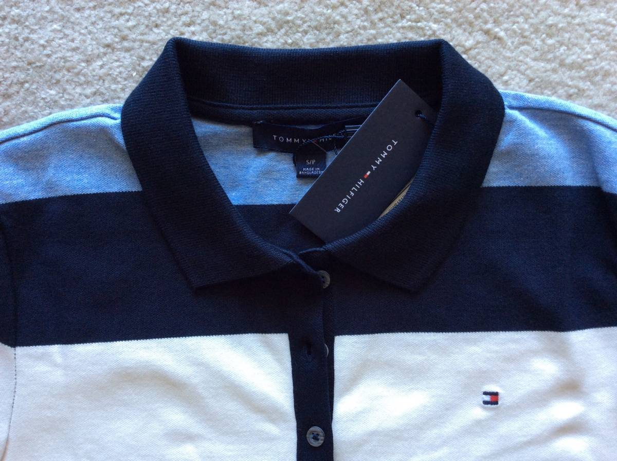 Tommy Hilfiger新品XL♪青紺白ボーダー鹿の子織りポロシャツ_青白紺のボーダー