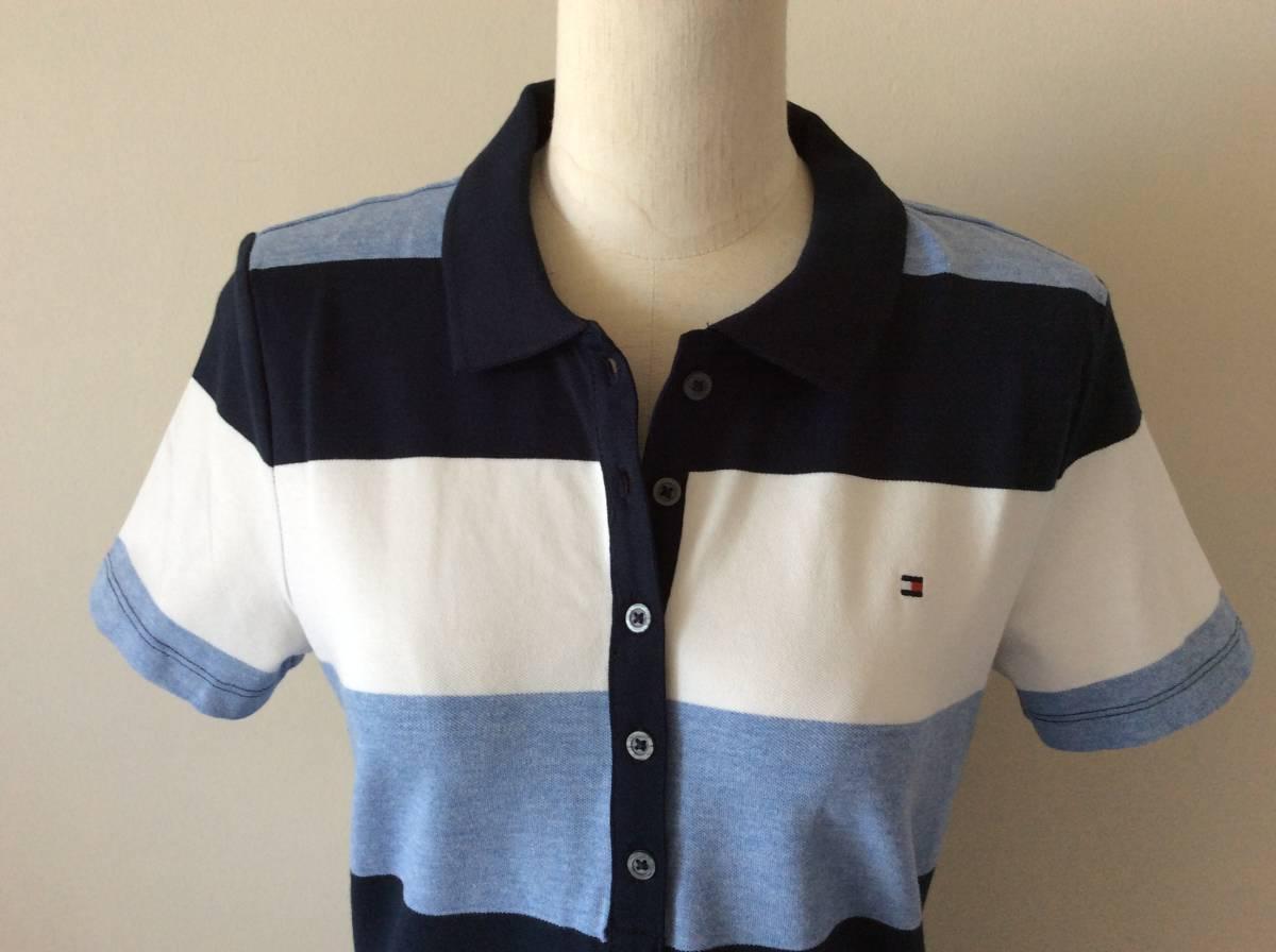 Tommy Hilfiger新品XL♪青紺白ボーダー鹿の子織りポロシャツ_胸にロゴ入り