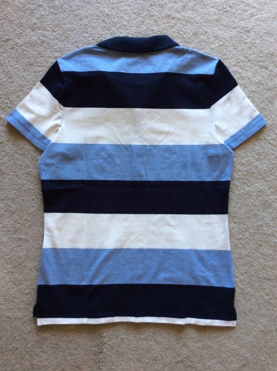 Tommy Hilfiger新品XL♪青紺白ボーダー鹿の子織りポロシャツ_後ろの平置き
