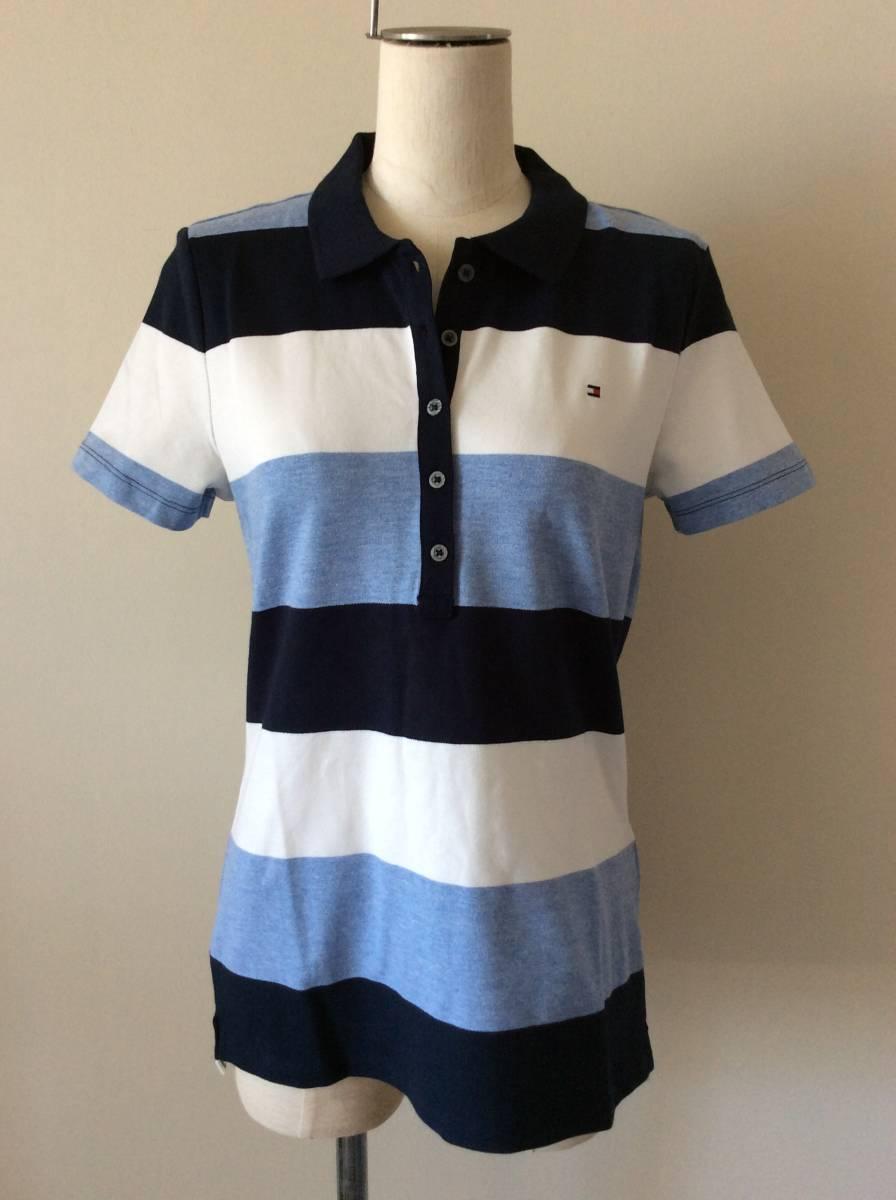 Tommy Hilfiger新品XL♪青紺白ボーダー鹿の子織りポロシャツ_鹿の子ポロシャツ
