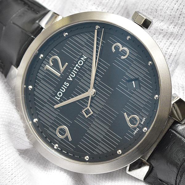 ルイヴィトン メンズ 時計 タンブール Q1D00 ダミエ ブラック Louis Vuitton【中古】_画像10