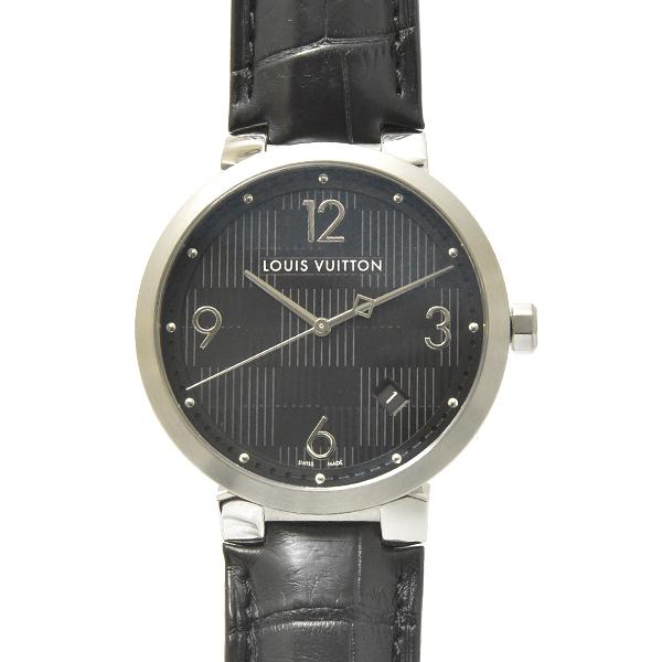 ルイヴィトン メンズ 時計 タンブール Q1D00 ダミエ ブラック Louis Vuitton【中古】_画像1