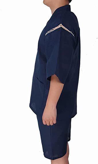 #09 LL=XL YIMANIE 甚平 メンズ 上下 2点セット しじら織り 作務衣 パジャマ 綿100% 和服 ゆったり 無_画像3