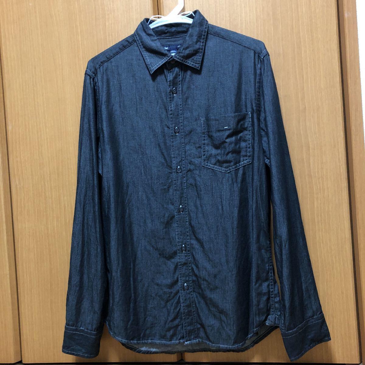 デニムシャツ メンズ 黒 Sサイズ(日本サイズM)