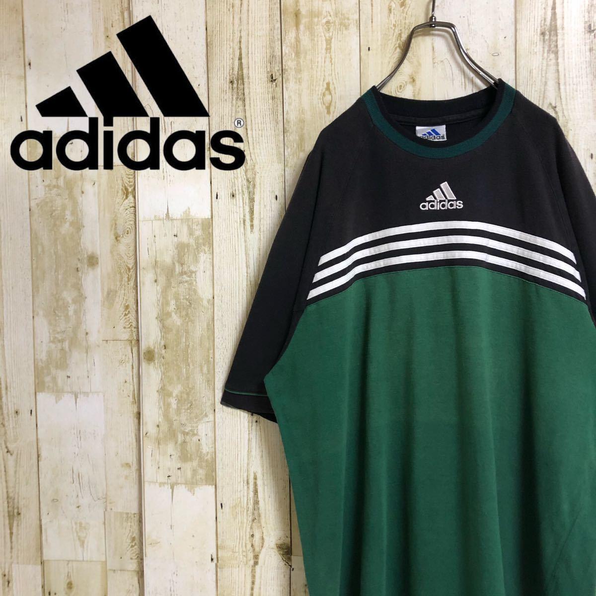 adidas センターロゴ 刺繍ロゴ パフォーマンスロゴ スリーストライプ スリーライン 切替 ビッグサイズ ユニセックス 半袖Tシャツ 2XL 古着