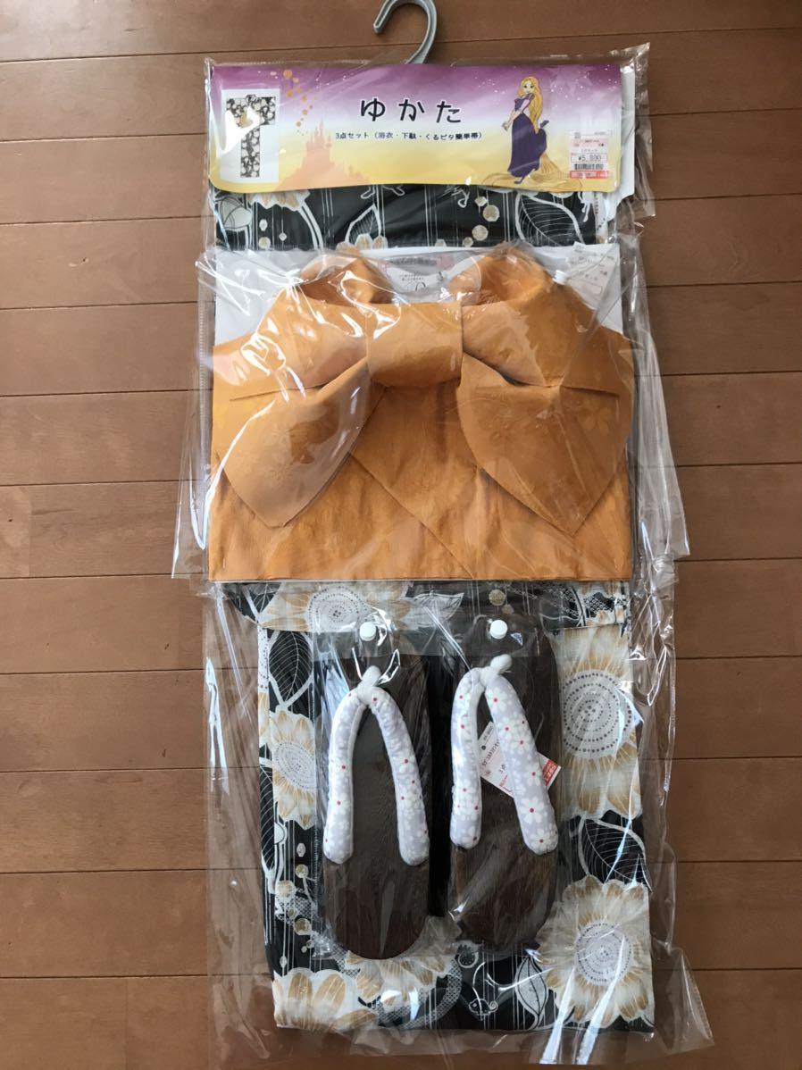 【未使用】浴衣ディズニー ラプンツェル3点セット(ゆかた・下駄・くるピタ簡単帯)_画像1