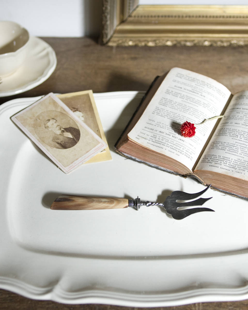 jf01249 仏国*フランスアンティーク シェルカトラリー* シルバーカトラリー 食器 ブレッドフォーク 調理用具 おたま テーブルウェア_画像1