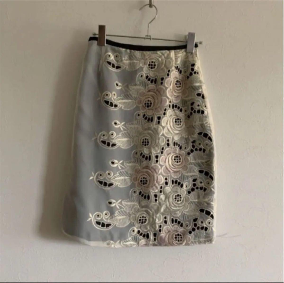 フラワー刺繍 ストレート スカート 花柄