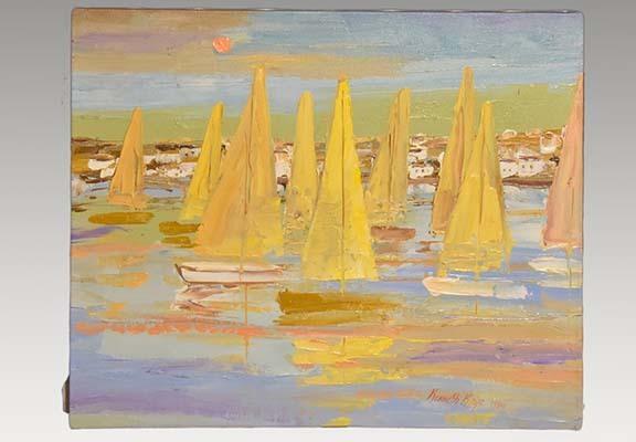 カナダ スティーブン・ケイ Stephen Kaye 油絵作品 「Evening Glow」F12号 1980年制作 サインあり 額装 油彩 油画 風景画 絵画 書画 a2130_画像2