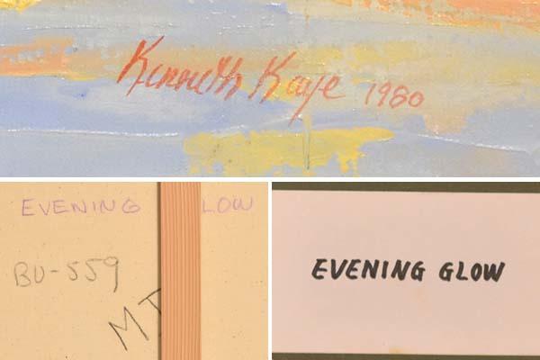 カナダ スティーブン・ケイ Stephen Kaye 油絵作品 「Evening Glow」F12号 1980年制作 サインあり 額装 油彩 油画 風景画 絵画 書画 a2130_画像3