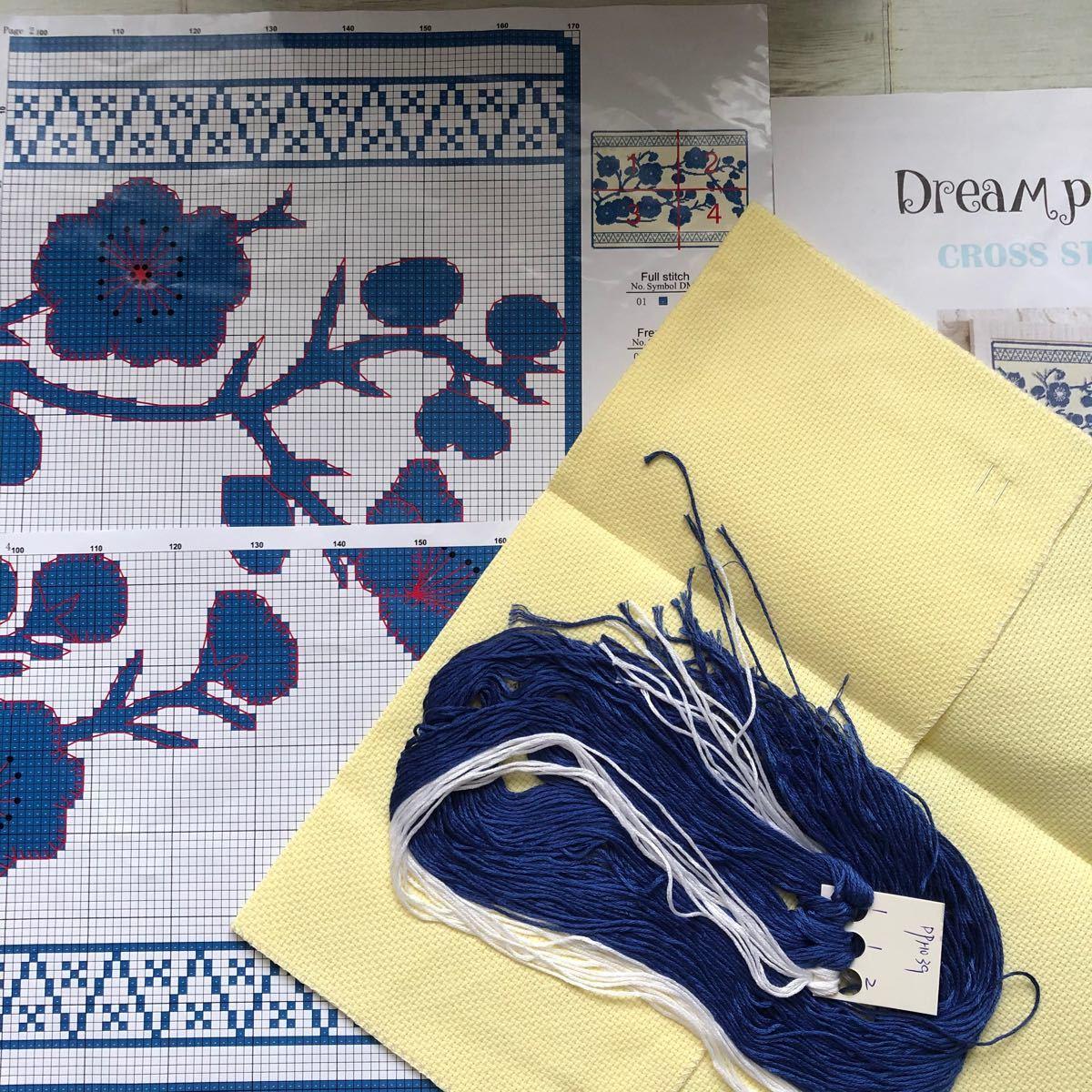 クロスステッチ 刺繍キット 青い花