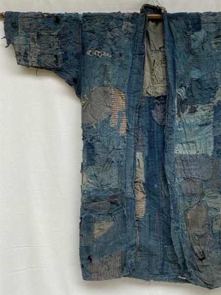 究極の襤褸 明治期 襤褸 野良着 ボロ 藍染め 継ぎ接ぎ 溶けた木綿 アンティーク Japanese Antique boro アートピース 博物館級 資料 00s10s_画像1