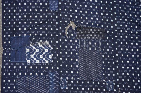 1214F4◆ボロ◆絣木綿(小柄)◆藍染木綿古布◆5幅◆継ぎ接ぎ◆継ぎ当て◆BORO◆襤褸◆リメイク素材◆_画像5