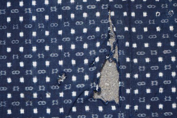 1214F4◆ボロ◆絣木綿(小柄)◆藍染木綿古布◆5幅◆継ぎ接ぎ◆継ぎ当て◆BORO◆襤褸◆リメイク素材◆_画像10