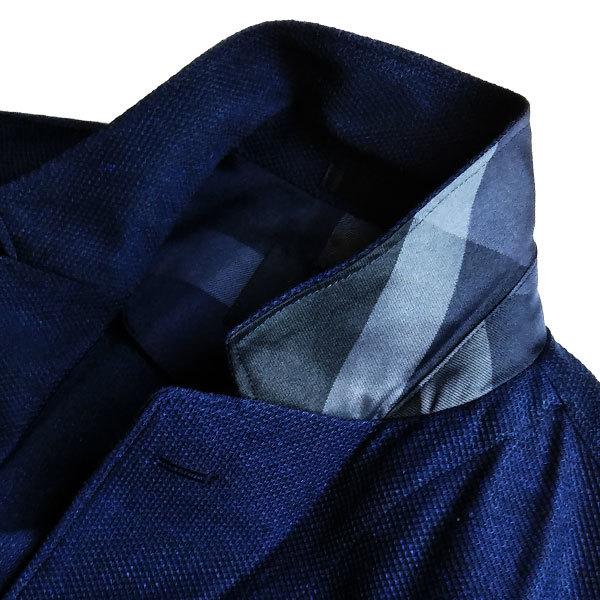 新品 ブラックレーベル クレストブリッジ リネン混(麻)Wフェイス サマージャージー テーラードジャケットM(2) 紺◆BLACK LABEL CRESTBRIDGE_画像3