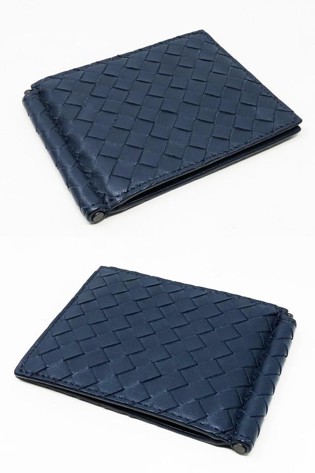 未使用品 ボッテガヴェネタ 二つ折りマネークリップ 財布 123180 V4651 4013 メンズ イントレチャート カーフレザー ライトトルマリン_画像3