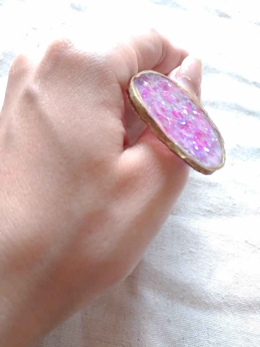 パレットリング ドゥルージー 天然石 ピンク パレット リング アート マツエク