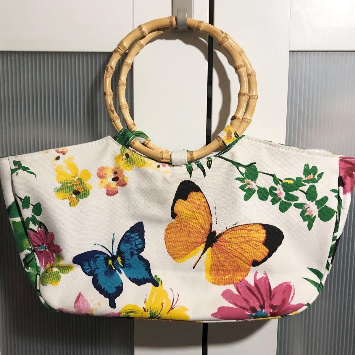 イギリス お花と蝶々のキラキラバッグ