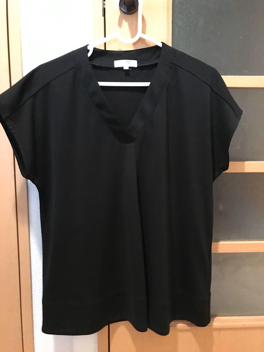 黒 カットソー ブラウス 半袖