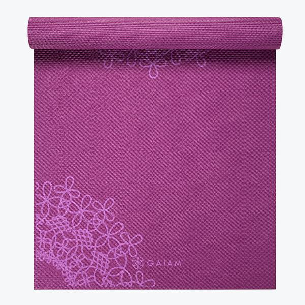送料無料 gaiam ヨガマット MEDALLION YOGA MAT 紫 4mm エクササイズ ピラティス フィットネス メダリオンデザイン パープル