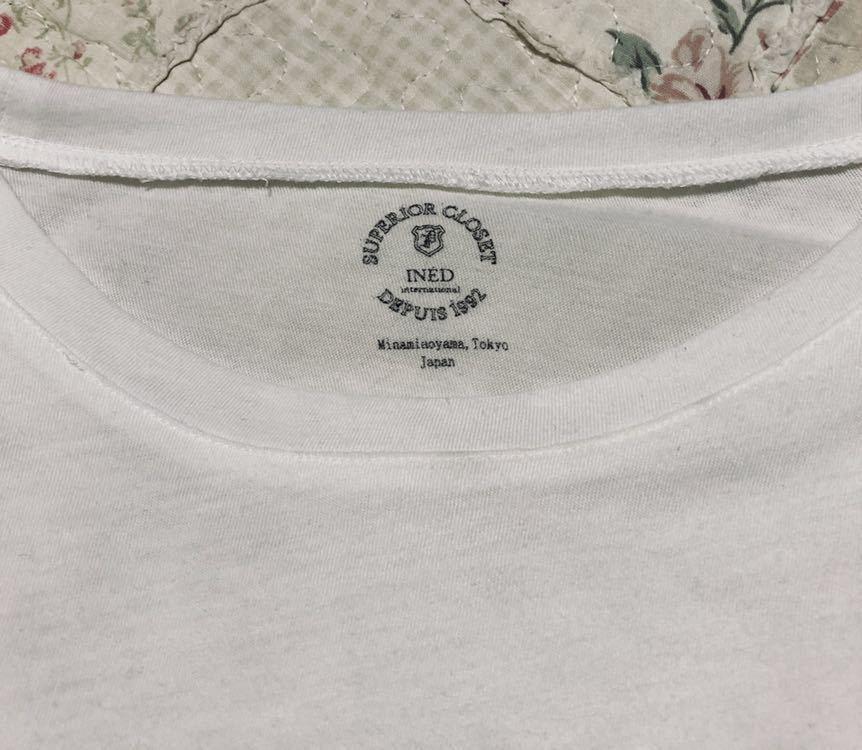 送料込み 即決☆イネド INED ロゴプリント 半袖Tシャツ/半袖カットソー☆ホワイト